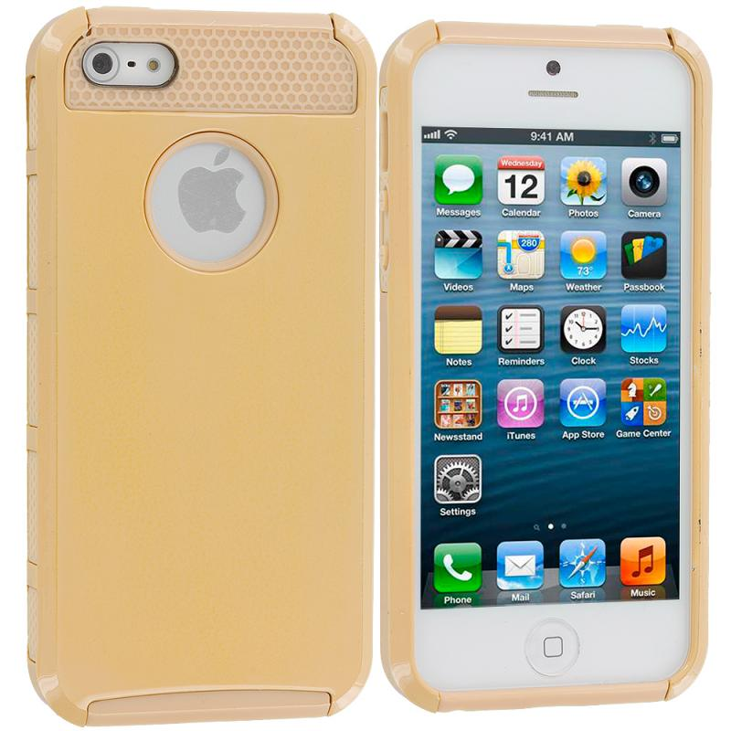 Apple iPhone 5 / 5S Gold Hybrid Rugged Hard/Soft Case Cover Angle 1