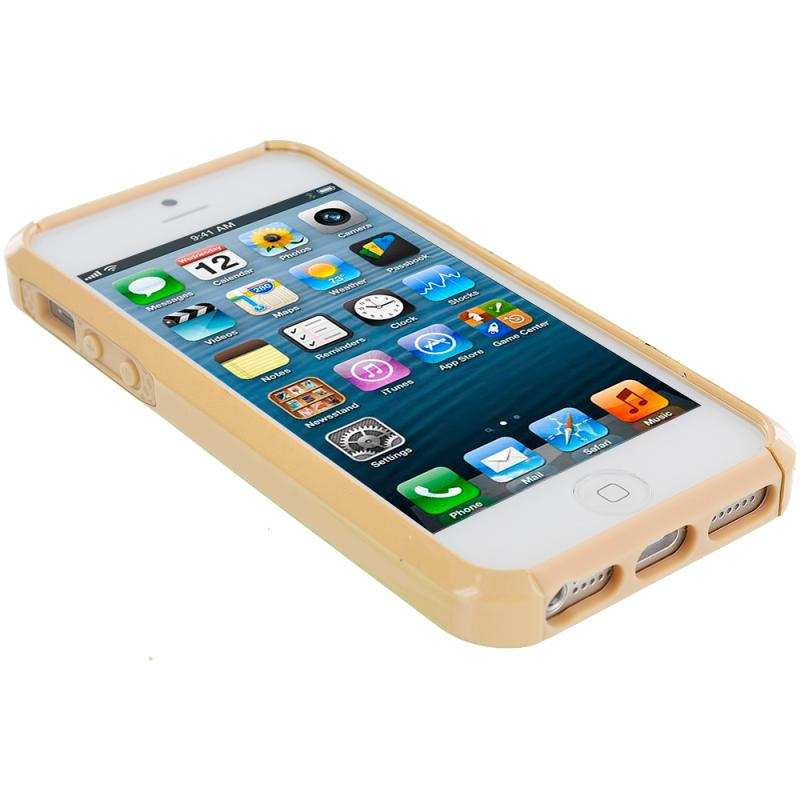 Apple iPhone 5 / 5S Gold Hybrid Rugged Hard/Soft Case Cover Angle 2