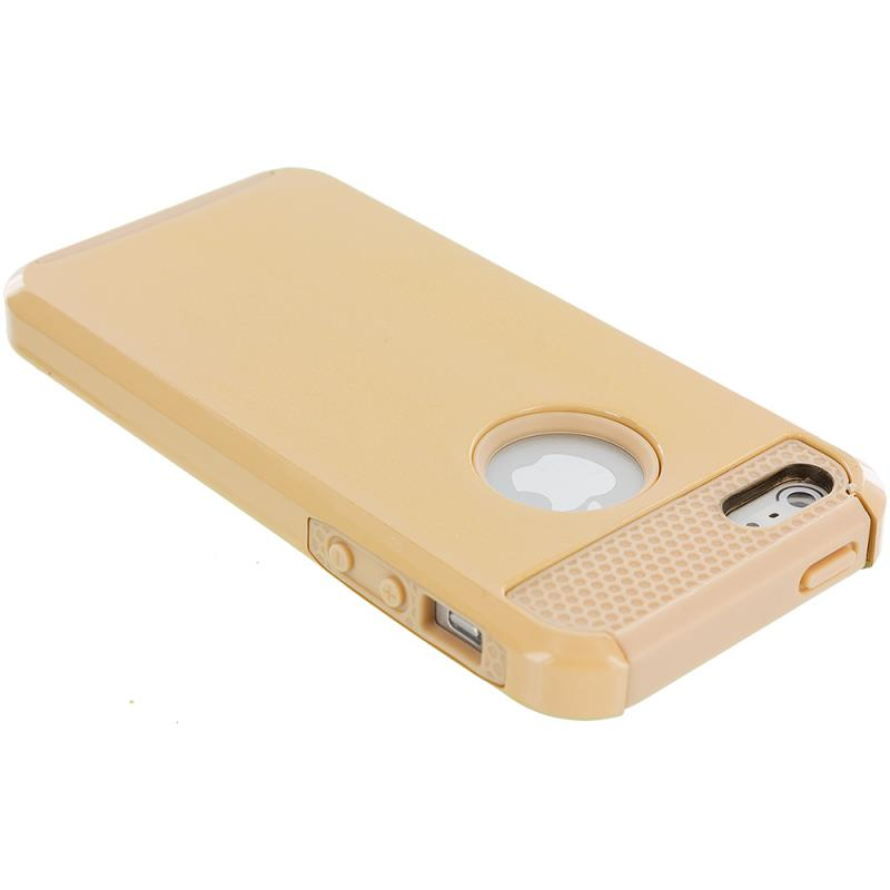 Apple iPhone 5 / 5S Gold Hybrid Rugged Hard/Soft Case Cover Angle 3