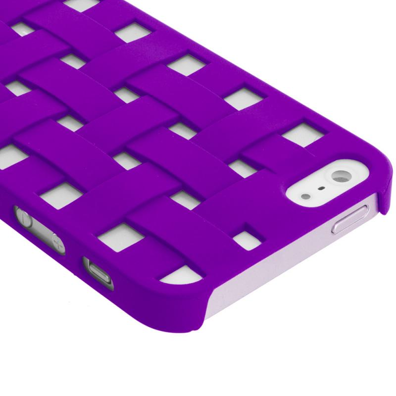 Apple iPhone 5 Combo Pack : Blue Handwoven Hard Rubberized Back Cover Case Angle 3