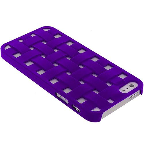 Apple iPhone 5 Combo Pack : Blue Handwoven Hard Rubberized Back Cover Case Angle 4