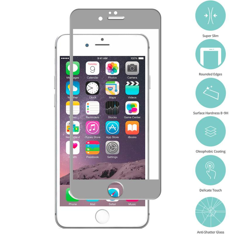 Apple iPhone 6 6S (4.7) Gray Tempered Glass Film Screen Protector Colored Angle 2