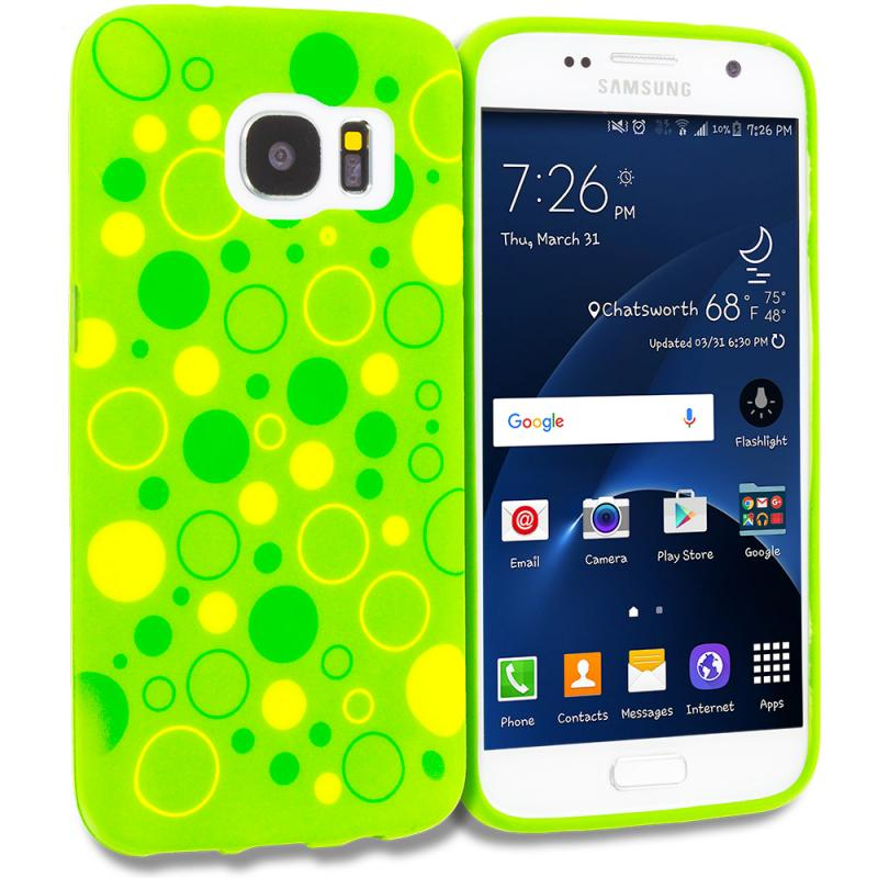 Samsung Galaxy S7 Combo Pack : Green Bubbles TPU Design Soft Rubber Case Cover Angle 1