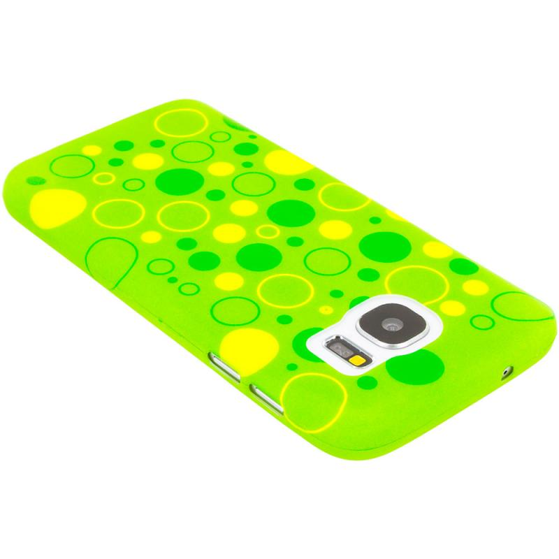 Samsung Galaxy S7 Combo Pack : Green Bubbles TPU Design Soft Rubber Case Cover Angle 2