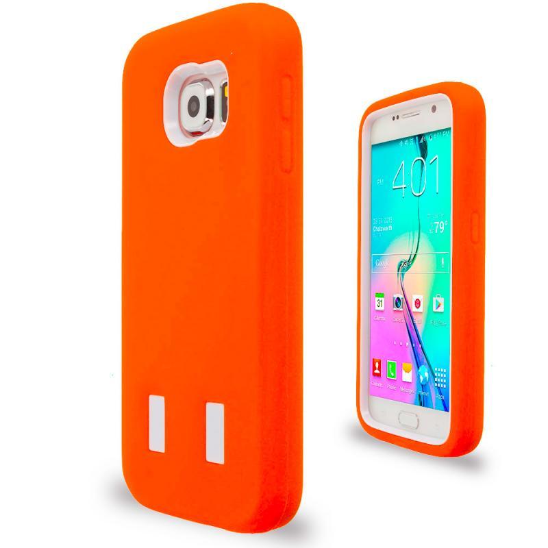 Samsung Galaxy S6 Orange / White Hybrid Deluxe Hard/Soft Case Cover Angle 2