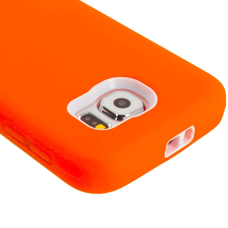 Samsung Galaxy S6 Orange / White Hybrid Deluxe Hard/Soft Case Cover Angle 3