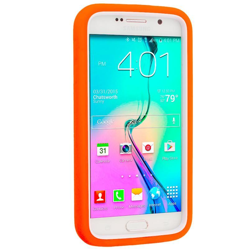 Samsung Galaxy S6 Orange / White Hybrid Deluxe Hard/Soft Case Cover Angle 4