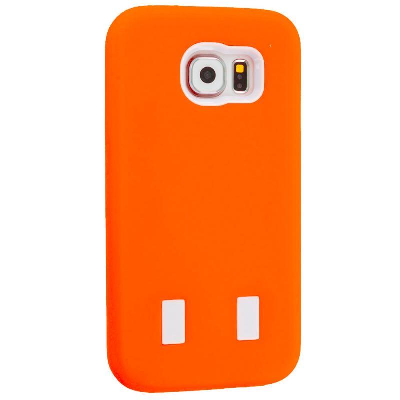 Samsung Galaxy S6 Orange / White Hybrid Deluxe Hard/Soft Case Cover Angle 5