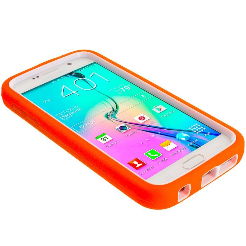 Samsung Galaxy S6 Orange / White Hybrid Deluxe Hard/Soft Case Cover Angle 6
