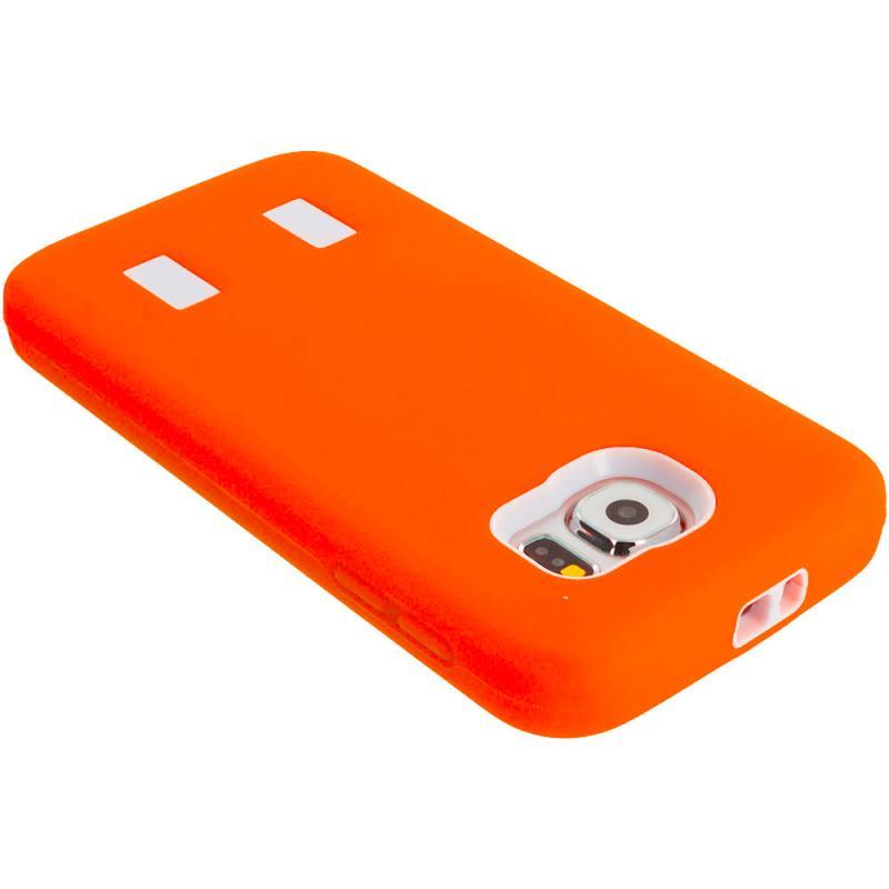 Samsung Galaxy S6 Orange / White Hybrid Deluxe Hard/Soft Case Cover Angle 7