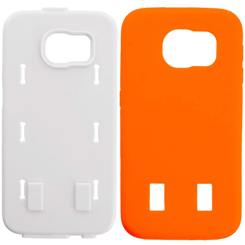 Samsung Galaxy S6 Orange / White Hybrid Deluxe Hard/Soft Case Cover Angle 8
