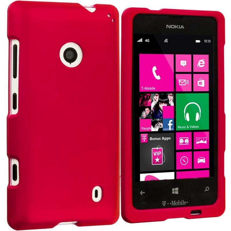 Nokia Lumia 521 Red Hard Rubberized Case Cover Angle 1