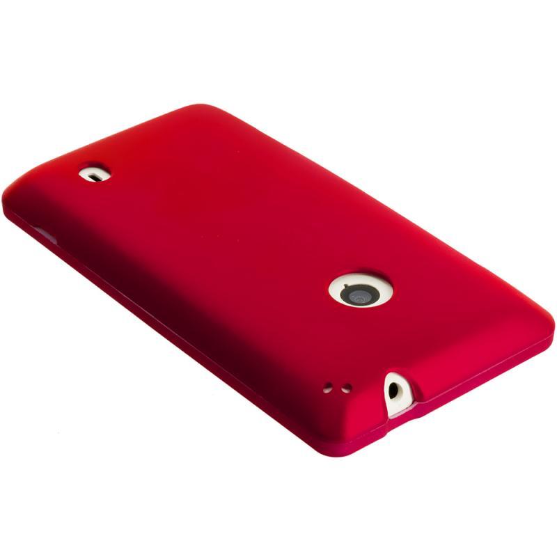 Nokia Lumia 521 Red Hard Rubberized Case Cover Angle 3
