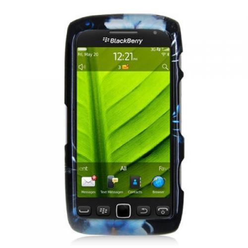 BlackBerry Torch 9850 9860 Blue Flower Design Crystal Hard Case Cover Angle 1