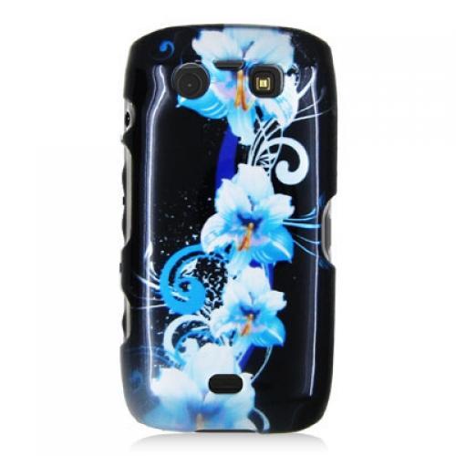 BlackBerry Torch 9850 9860 Blue Flower Design Crystal Hard Case Cover Angle 2