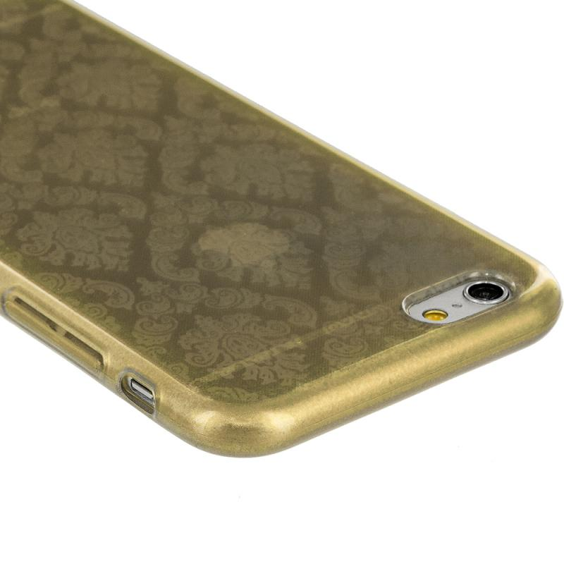 Apple iPhone 6 6S (4.7) Gold TPU Damask Designer Luxury Rubber Skin Case Cover Angle 2