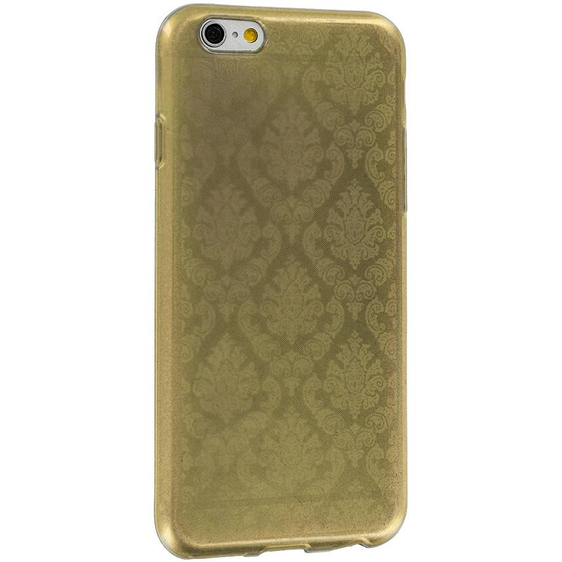 Apple iPhone 6 6S (4.7) Gold TPU Damask Designer Luxury Rubber Skin Case Cover Angle 4