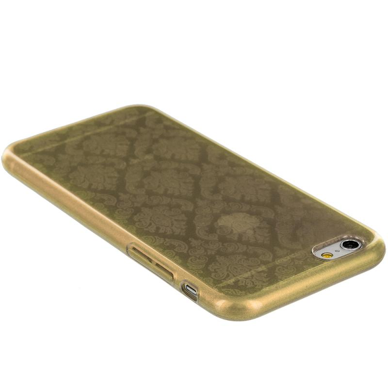Apple iPhone 6 6S (4.7) Gold TPU Damask Designer Luxury Rubber Skin Case Cover Angle 5
