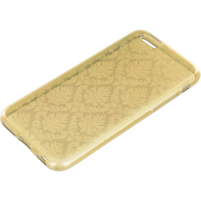 Apple iPhone 6 6S (4.7) Gold TPU Damask Designer Luxury Rubber Skin Case Cover Angle 7