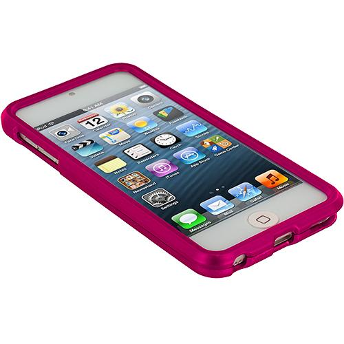 Apple iPod Touch 5th Generation 5G 5 Hot Pink Hard Rubberized Case Cover Angle 2