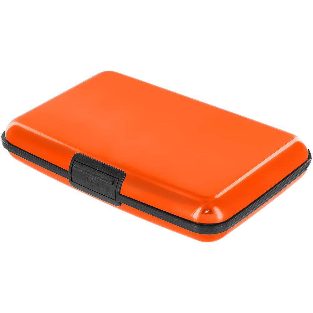 Orange aluminum metal card holder pocket business id for Orange business card holder