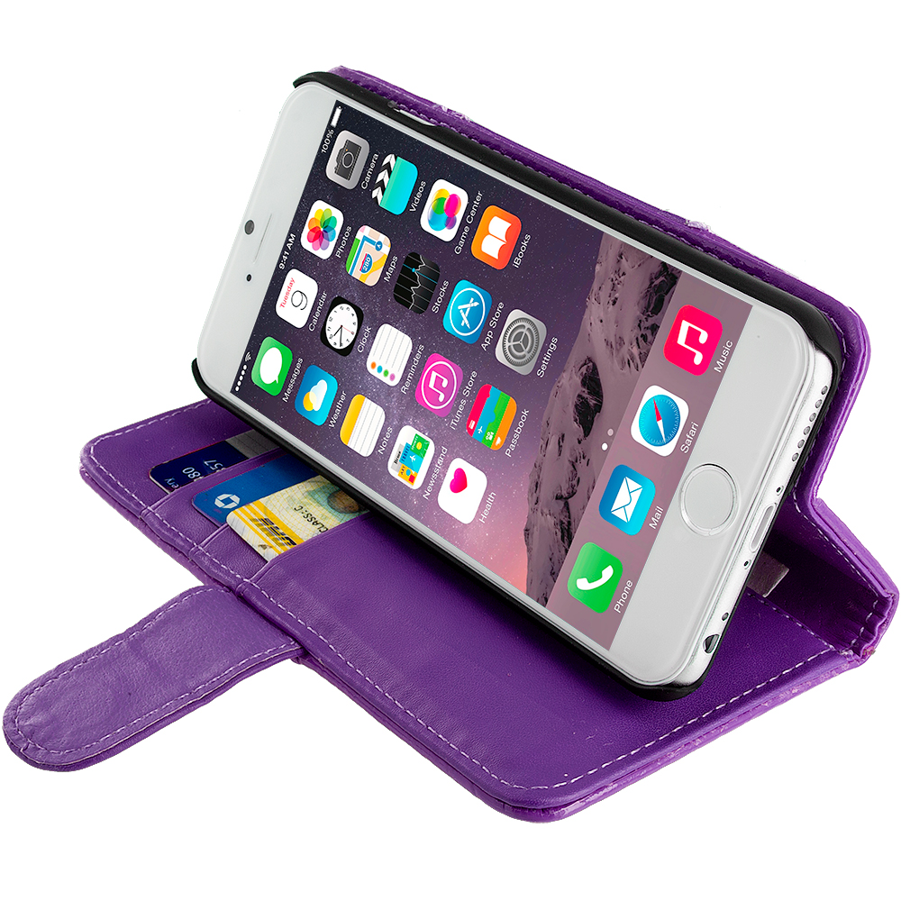 ... Apple iPhone 6S Plus 5.5 Wallet Pouch Flip Case Cover Purple Crocodile