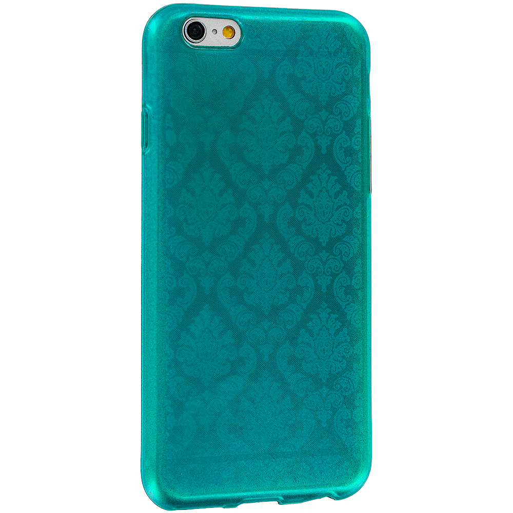teal tpu damask design rubber case cover for apple iphone 6 6s 4 7. Black Bedroom Furniture Sets. Home Design Ideas