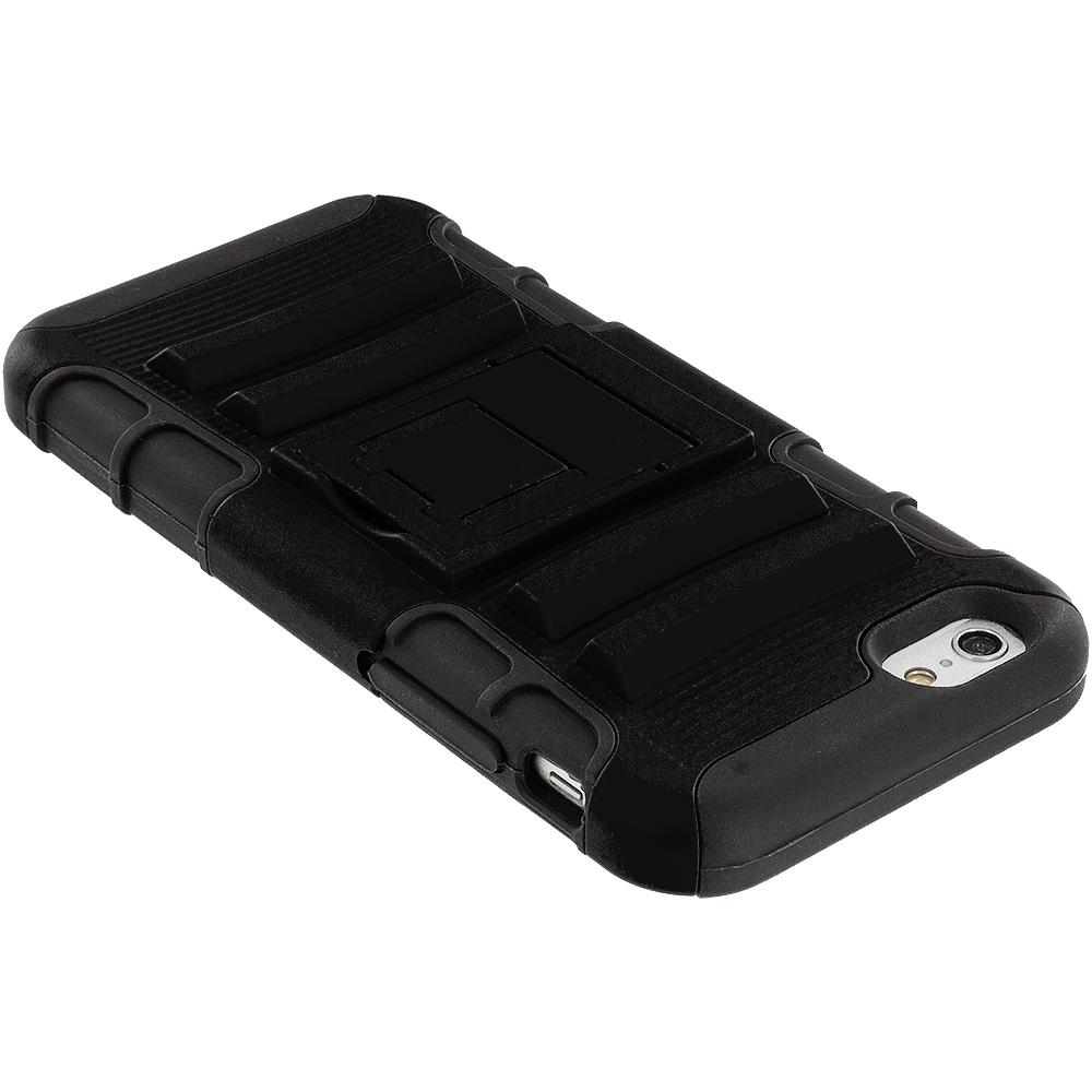 Heavy Duty Hybrid : Black hybrid armor heavy duty belt clip holster hard case